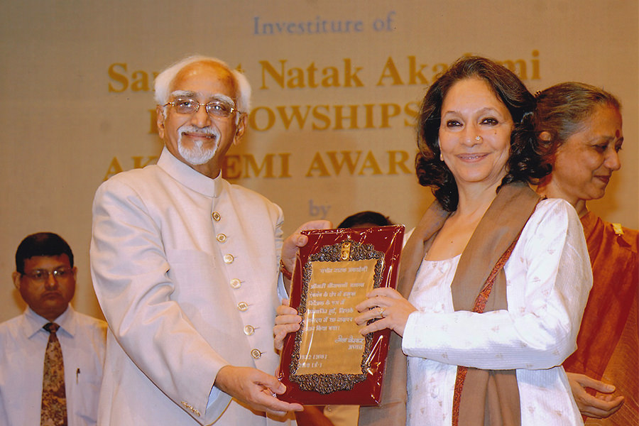 Veenapani Receiving The Sangeet Natak Akademi Award